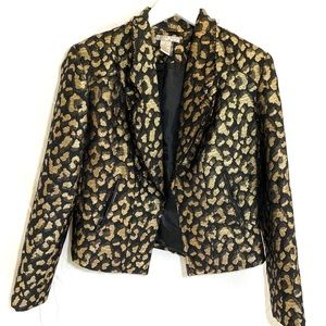 Leopard Alberto Makali Blazer Black and Gold Large